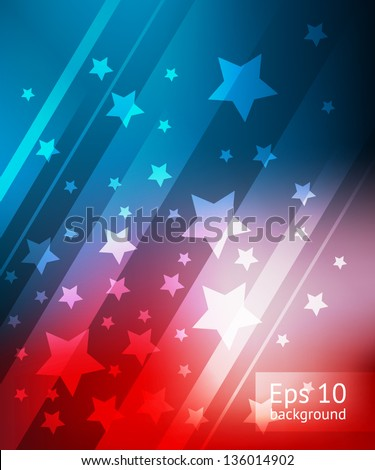 Blue and red background with stars for 4 july, EPS10 file with transparent objects - stock vector