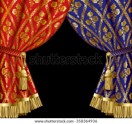 Blue and red drapes with gold vintage ornament on black background.  Vector illustration - stock vector