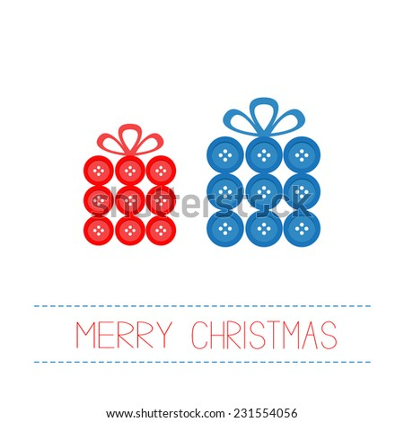 Blue and red gift boxes made from buttons. Appligue Dash line Merry Christmas card Flat design Vector illustration - stock vector