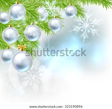 Blue and silver abstract Christmas tree bauble decoration ornaments festive design background with Christmas bauble balls hanging from a Christmas trees branches. - stock vector