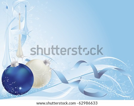 Blue and silver christmas background with baubles.