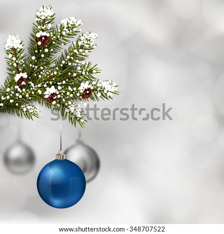 Blue and silver Christmas balls with fir tree branch on abstract light grey background. Xmas greeting card. Vector eps10 illustration - stock vector