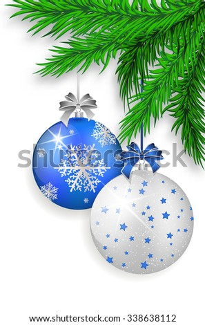 Blue and silver Christmas balls with shadows hanging on green spruce twig - isolated on white background. Vector illustration. - stock vector