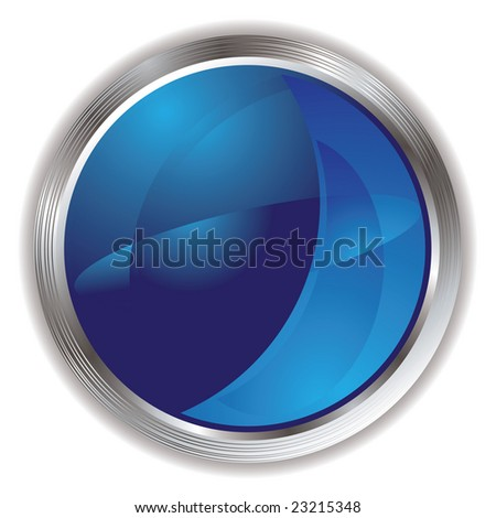 Blue and silver internet icon button with metallic surround - stock vector