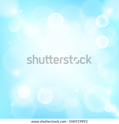 Blue and white abstract bokeh background. Circle concept