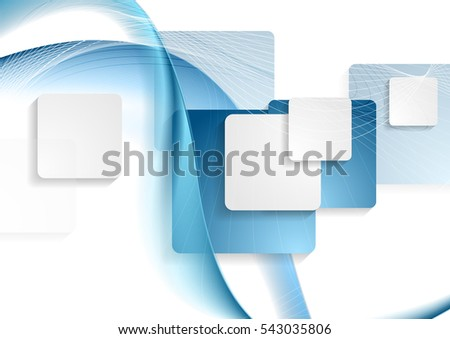 Blue and white abstract squares and waves graphic tech background. Vector geometric design illustration