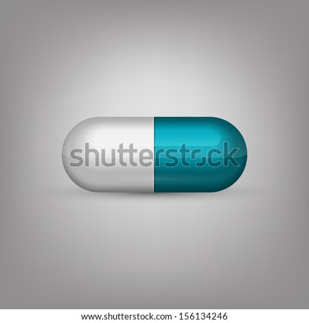 Blue and white capsule pill - stock vector