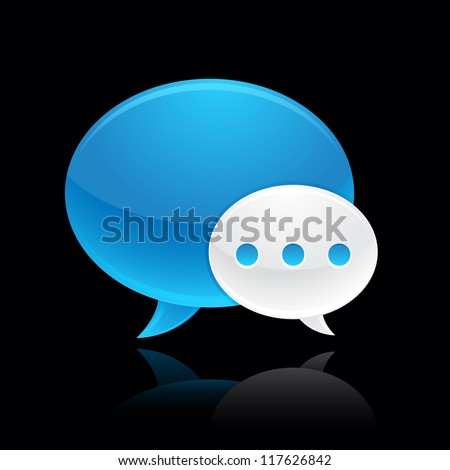 blue and white chat bubble icon reflected on black background - stock vector