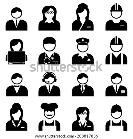 Blue and white collar professionals and workers icon set
