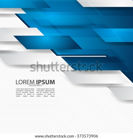 blue and white geometric shapes overlapping, corporate design - stock vector