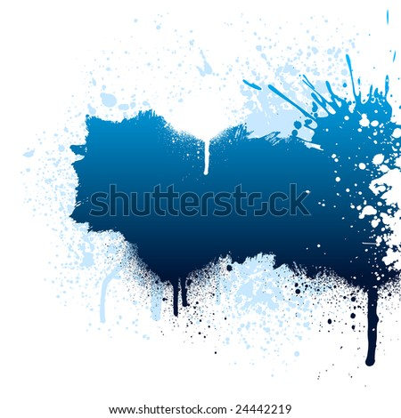 Blue and white grunge paint splatter background