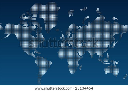 Blue and white Illustrated world map (vector) - stock vector