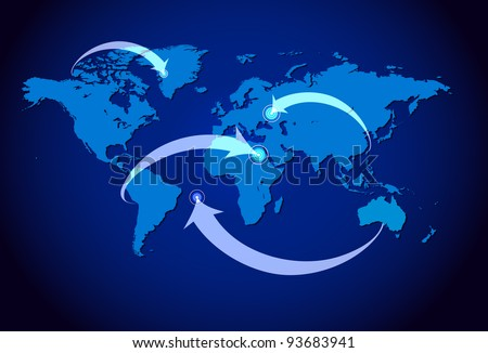 Blue white illustrated world map arrows vectores en stock 93683941 blue and white illustrated world map with arrows pointing at the item gumiabroncs Gallery
