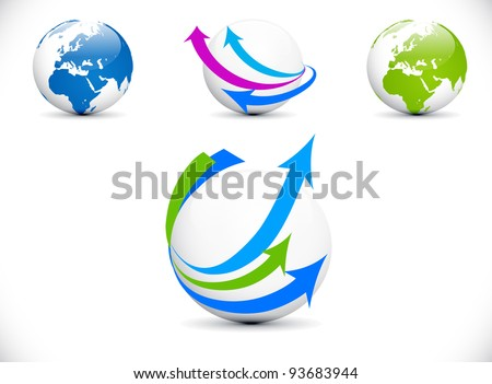 Blue and white Illustrated world map with arrows pointing at the item.