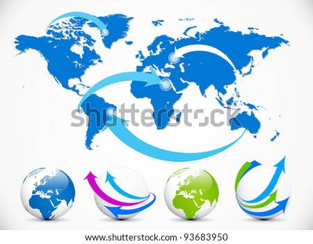 Blue and white Illustrated world map with arrows pointing at the item. - stock vector