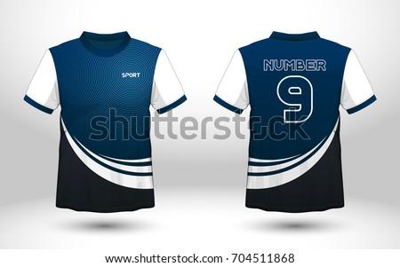 Blue White Layout Football Sport Tshirt Stock Vector - T shirt artwork template