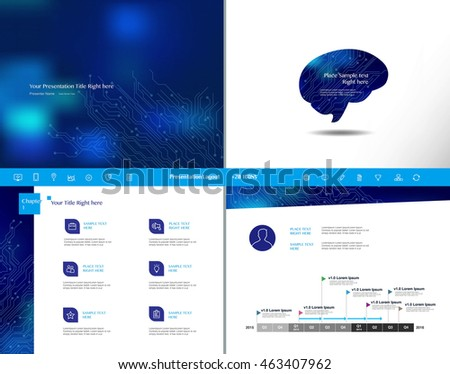 Blue and white presentation template Infographic icon elements set for brochure flyer leaflet marketing advertising