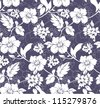 Blue and white seamless floral pattern - stock photo