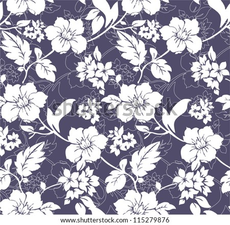 Blue and white seamless floral pattern - stock vector