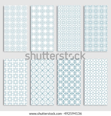 Blue and white seamless vertical patterns borders set, repeating line texture. Seamless geometric patterns collection for background, banner, card or invitation. Tribal ethnic outline ornament
