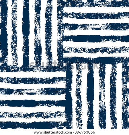 Blue and white striped woven grunge seamless pattern, vector - stock vector