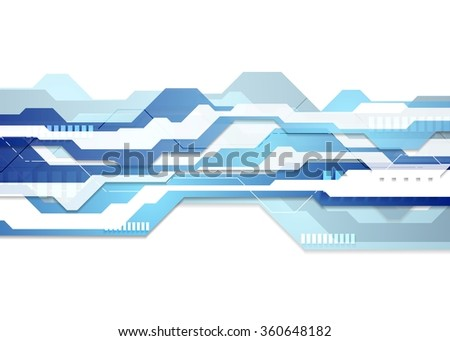 Blue and white tech geometric flyer background. Vector graphic design - stock vector