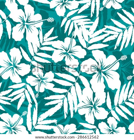 Blue and white tropical flowers silhouettes vector seamless pattern - stock vector