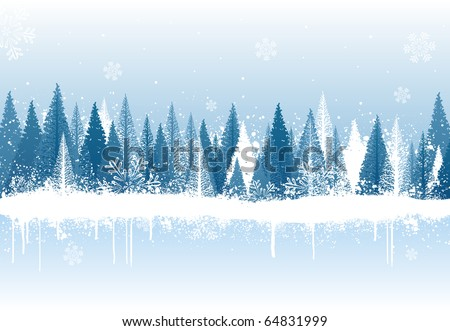Blue and white winter forest grunge paint design - stock vector