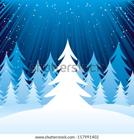 Blue and white winter forest shine paint design - stock vector