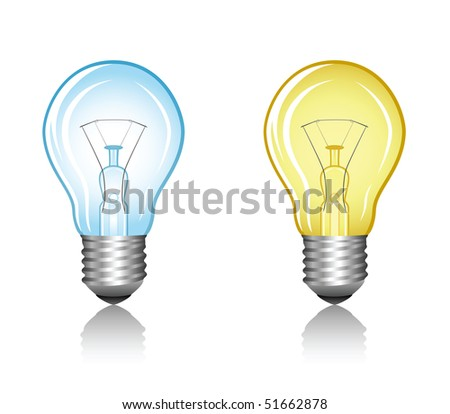 Blue and yellow bulbs - stock vector