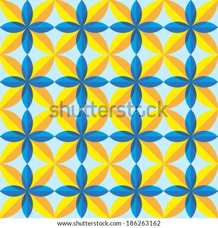 blue and yellow geometric seamless pattern - stock vector