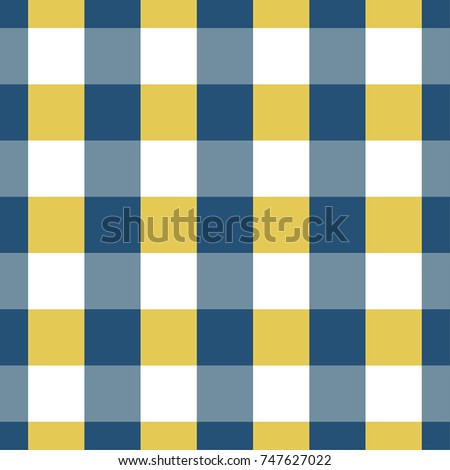 Blue And Yellow Gingham Pattern. Textured Seamless Tablecloth
