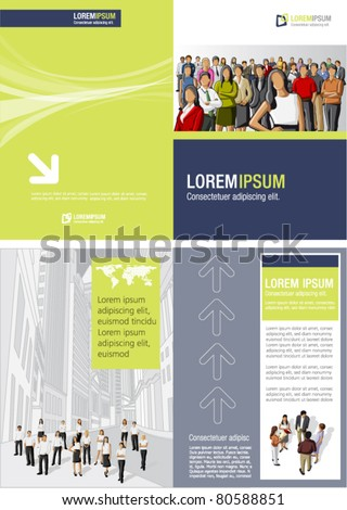 Blue and yellow green template for advertising brochure with business  people - stock vector