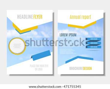 Blue Yellow Leaflet Design Brochure Template Stock Vector - Printable brochure templates