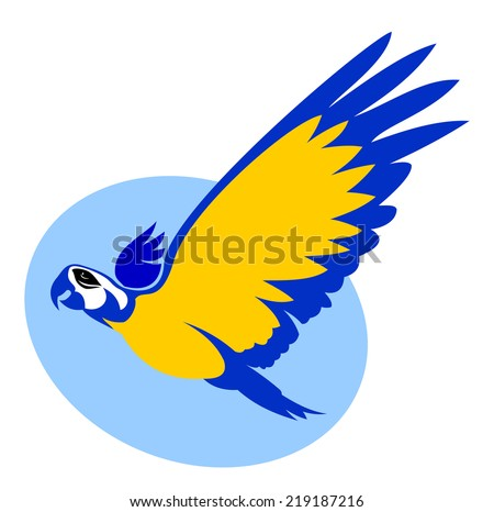 Blue-and-yellow macaw flying. - stock vector