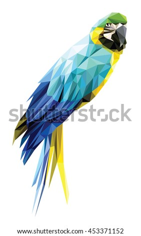 Blue and Yellow Macaw low polygon isolated on white background, colorful parrot bird modern geometric design - stock vector