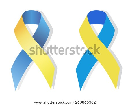 Blue and yellow ribbon symbolizing attention to the problem of people with Down syndrome - stock vector