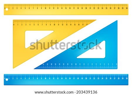 Blue and yellow rulers in  millimeters. Vector objects - stock vector