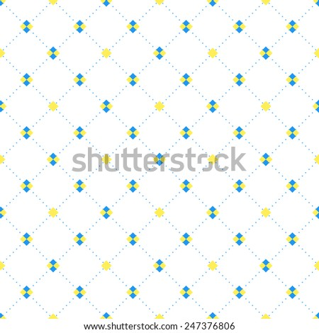 Blue and yellow sqaures and diamonds seamless pattern in rhomb shape. Vector repeating background for cover, presentation, web site, banner, etc. - stock vector