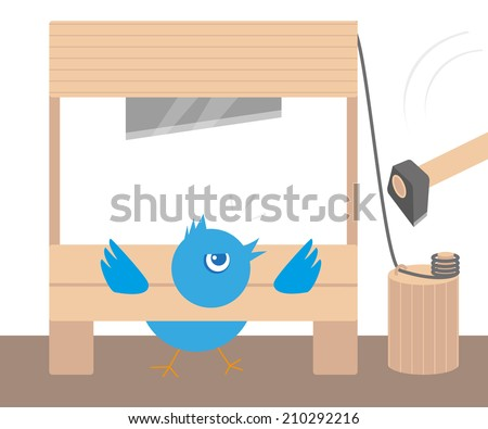 Blue angry bird in guillotine. Conceptual illustration - stock vector
