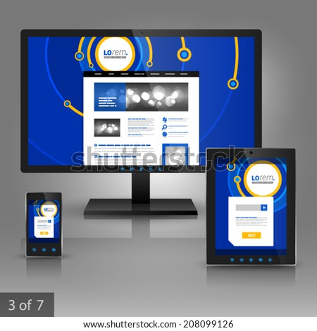 Blue application template design for gadgets with digital circles. Elements of stationery. - stock vector