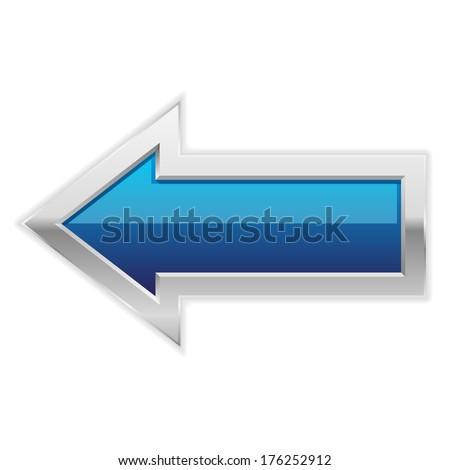 Blue arrow button with metallic border - stock vector