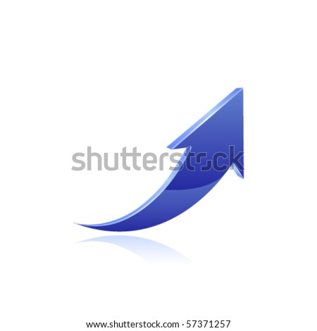 Blue arrow icon - stock vector
