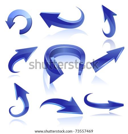 Blue arrow icon set. Vector - stock vector