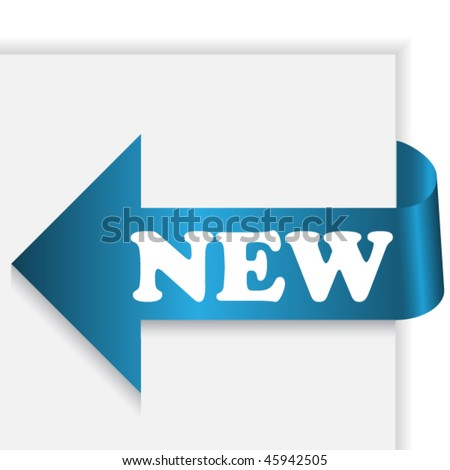 Blue arrow ribbon in corner of paper with text new - stock vector