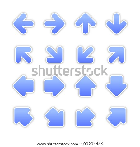 Blue arrow sign sticker web button. Vector saved in EPS 10. Blank color satin shapes with gray drop shadow on white background. - stock vector