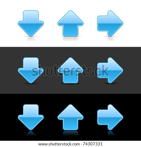 Blue arrow sign web 2.0 buttons with shadow and reflection on white, gray and black - stock vector