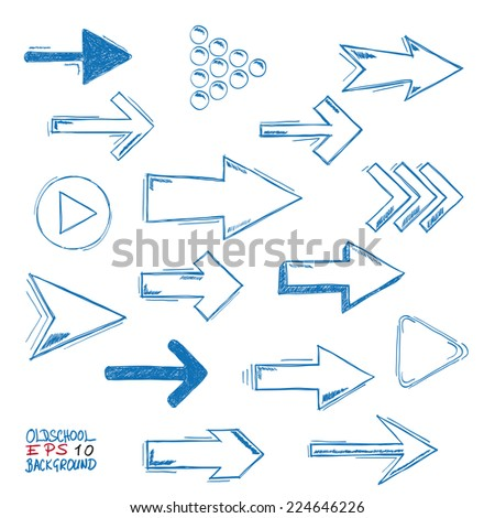 Blue arrows on the grey background. Eps 10 vector file. - stock vector