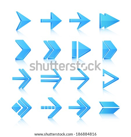 Blue arrows symbols pictograms icons, set isolated vector illustration
