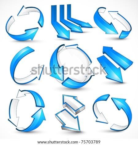 Blue arrows. Vector illustration - stock vector